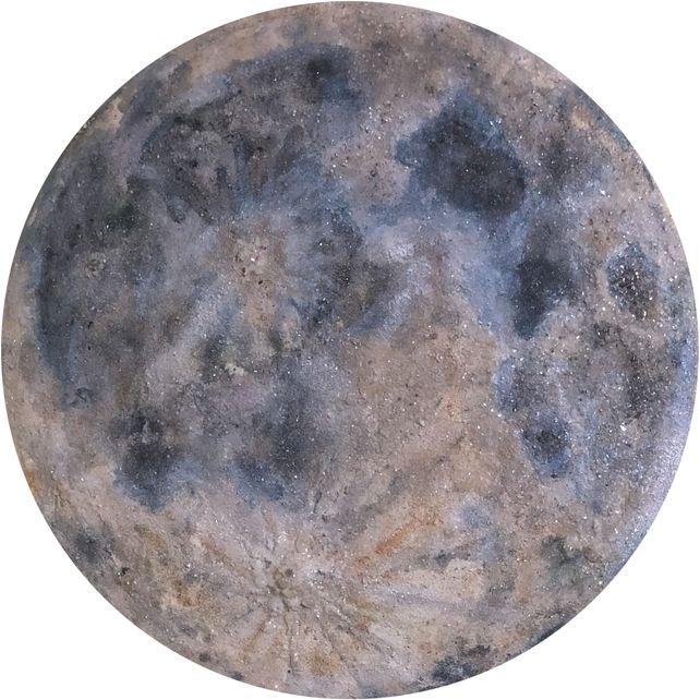 Moon Original Painting on Round Birch Panel