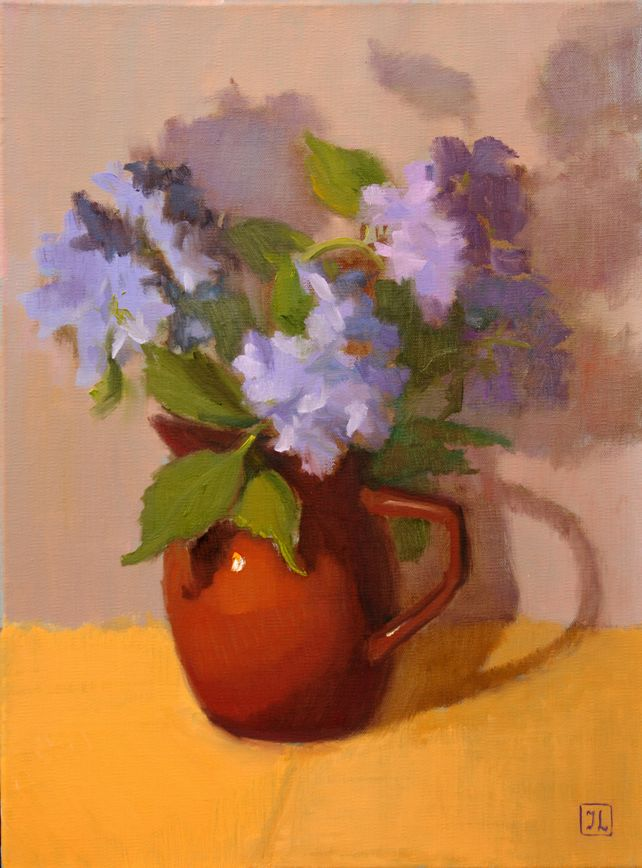 BLUE HYDRANGEA IN BROWN VASE