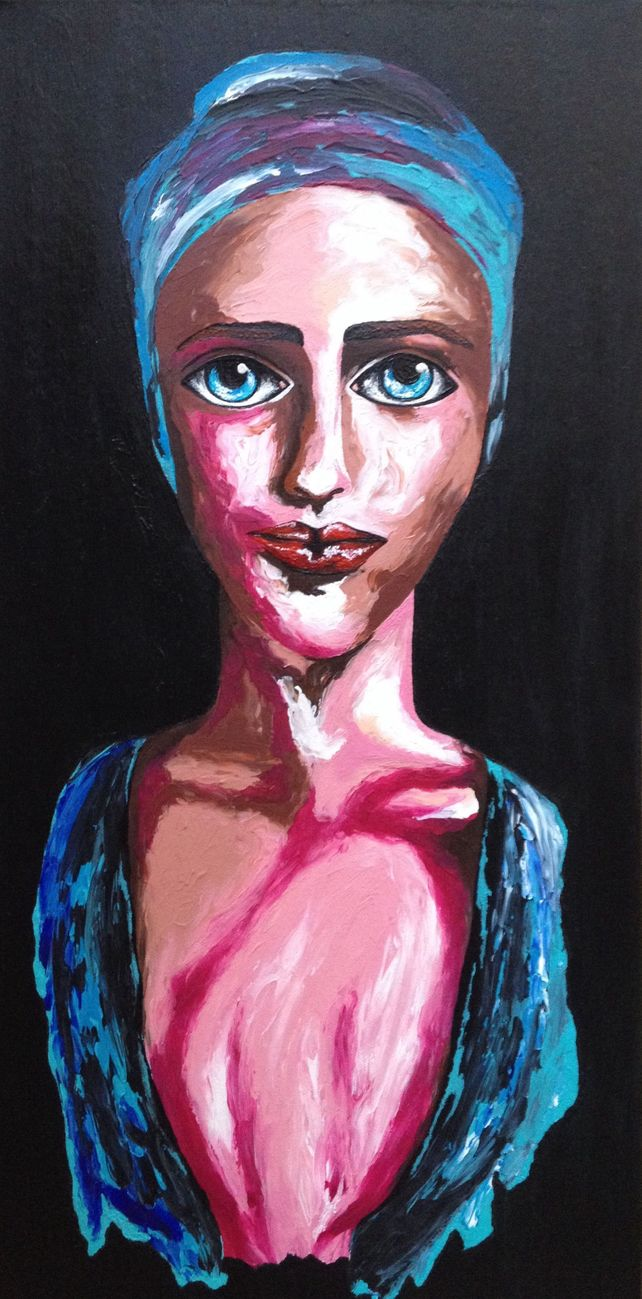 Deep in her blue eyes 35x70cm on canvas