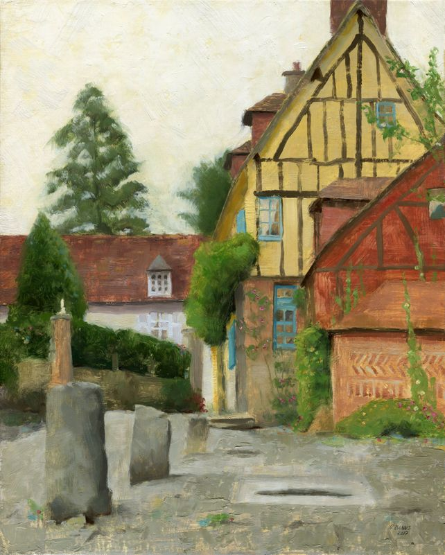 Gerberoy, Old French village of Roses. Framed