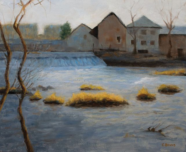 Weir and old industry on the river Vienne winter