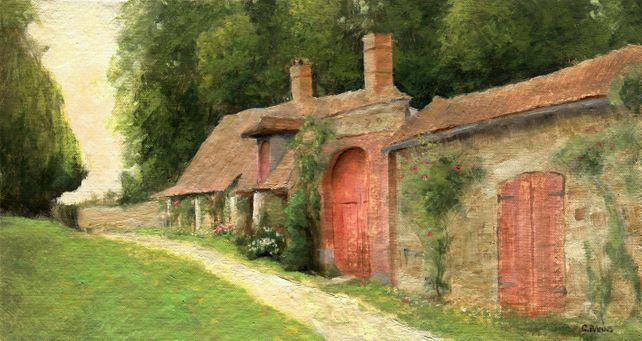 Idyllic country cottage landscape oil painting