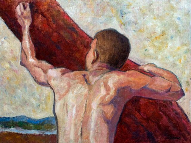 Seeking to rise into the light, man climbing tree