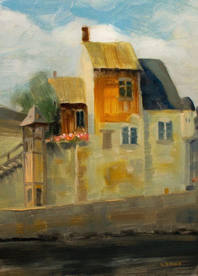 Honfleur harbor France, old buildings framed oil