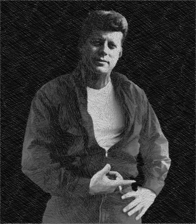 John F Kennedy Cool JFK James Dean Drawing