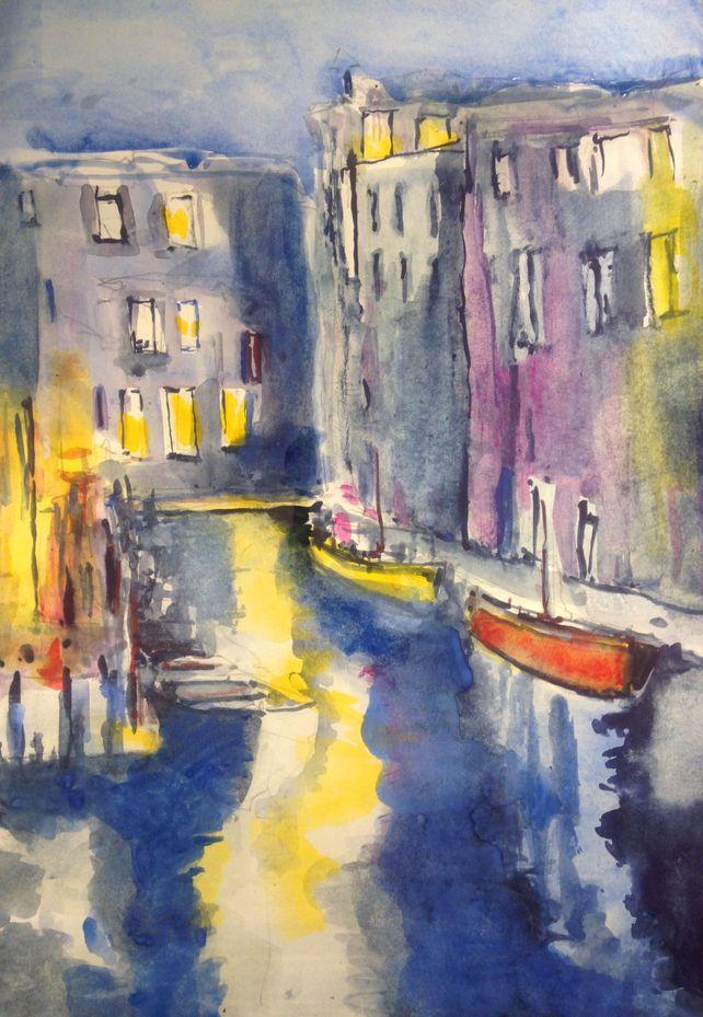 Venice backwater evening lights