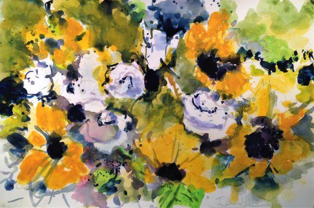 Sunflowers, White Roses