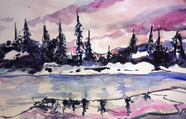 Winter Evening Lake Tahoe