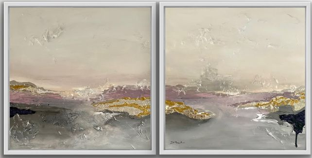 Diptych Poetic Landscape  XXVI lavender - framed