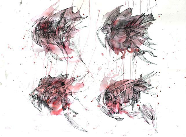 Four RED magic fish