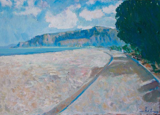 Mondello beach at evening