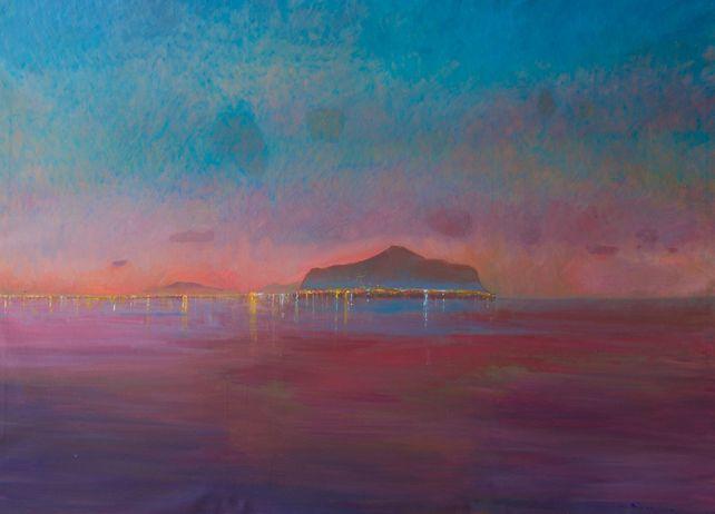 Monte Pellegrino, sunset from sea