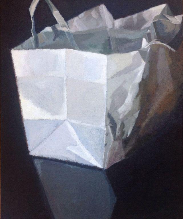 Plain White Paper Bag on Shinny Black Table