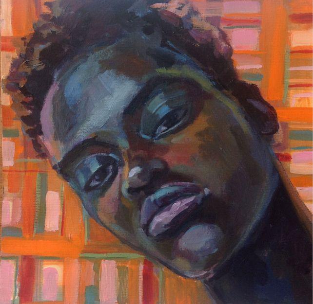 Portrait With Tartan Background