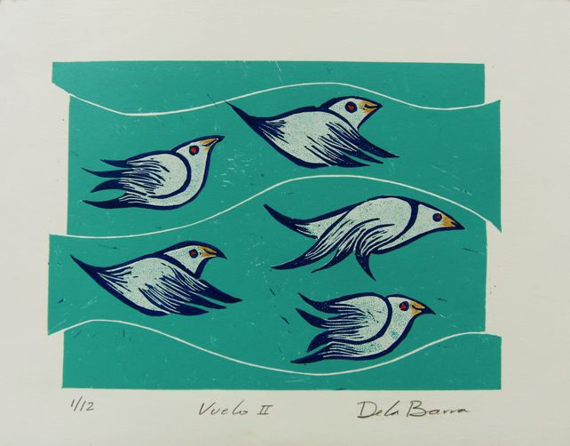 Vuelo II  Original print linocut on paper