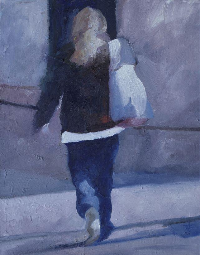 Pedestrian with white bag