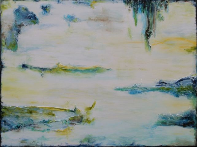 XL Abstract Stillness By The Lake 101.5 x 76 cm