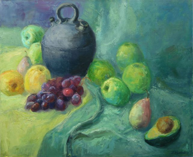 Still Life with Fruits apples, grapes and Avocado