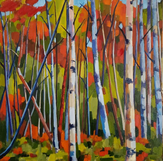 Birch Garden with Red Sand