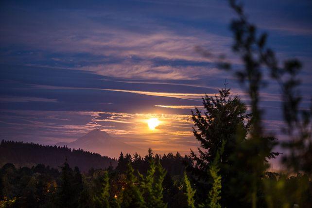 Harvest Moon Rise over Mt. Hood