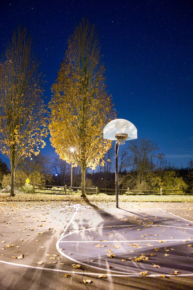 Basketball Hoop at Night