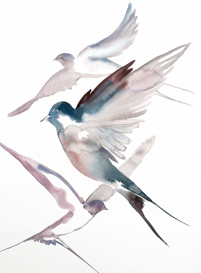 Swallows in Flight No. 34