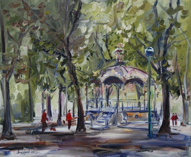 Oil painting of a bandstand in a public park