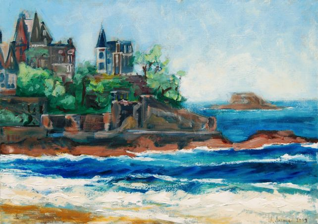 Oil on canvas of Dinard in Bretagne in France