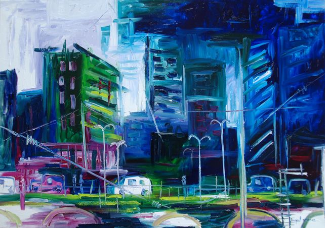 Original oil painting of a modern city