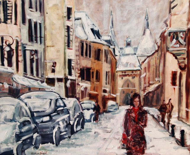 Original oil a cityscape in winter