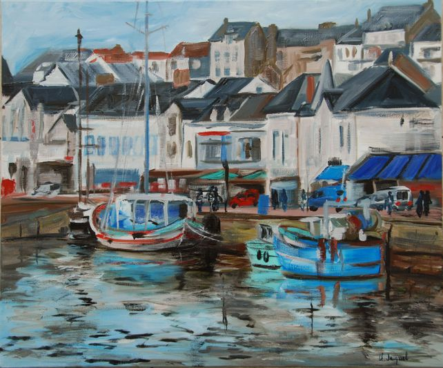 Original oil from a fishing port in France. Pornic