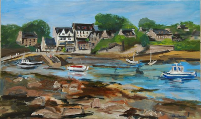 Oil painting of a small Breton harbor at low tide