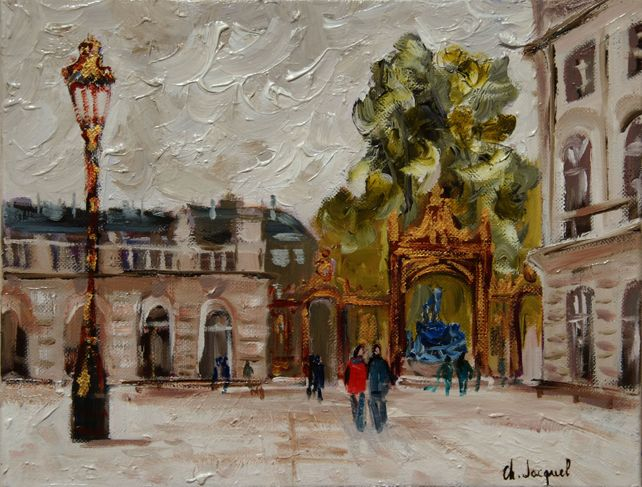 Oil on canvas of Place Stanislas France