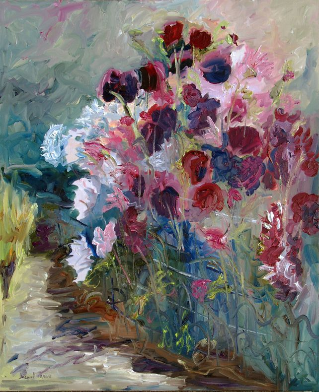 Original oil painting of purple and pink flowers