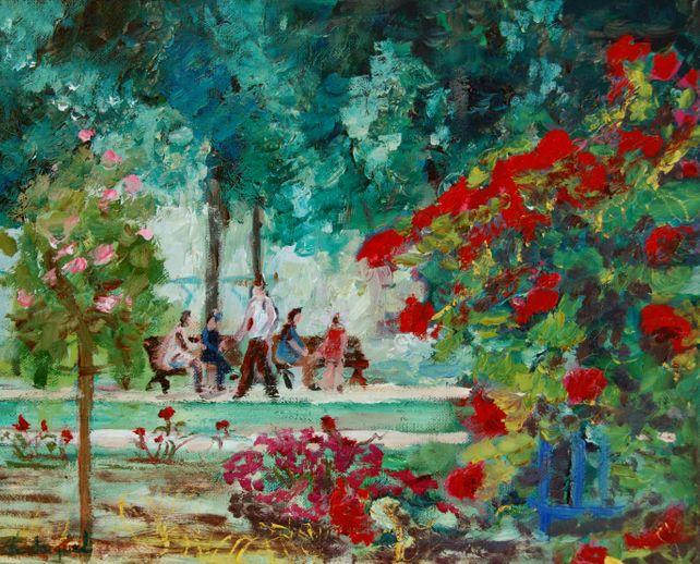Oil on canvas of walkers in a public garden