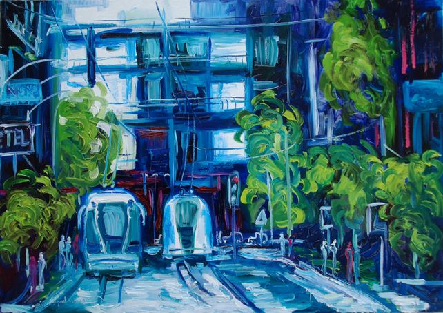 Original oil painting of a blue and green city