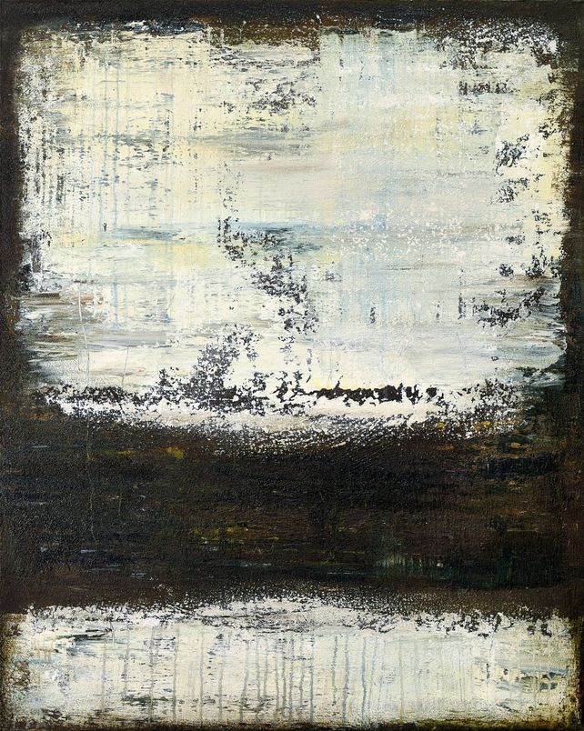 Brown white abstract painting DT856