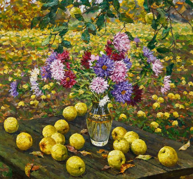 Still Life with Apples and Asters