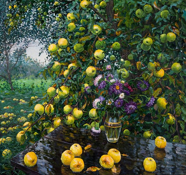 Still Life with Asters and Apples