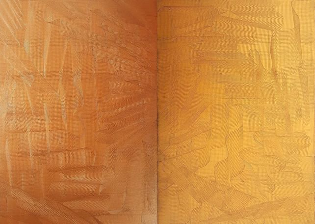 Gentle touch - diptych golden and bronze abstract