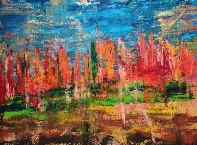 November sunset - XXL abstract landscape