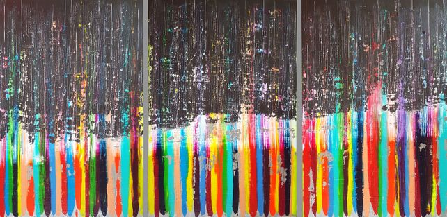 Remember - XXL triptych textured abstract