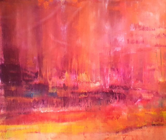 Magic of the spring rain - XL abstract landscape
