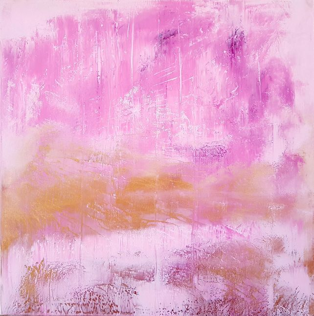 Endearment - golen and pink abstract