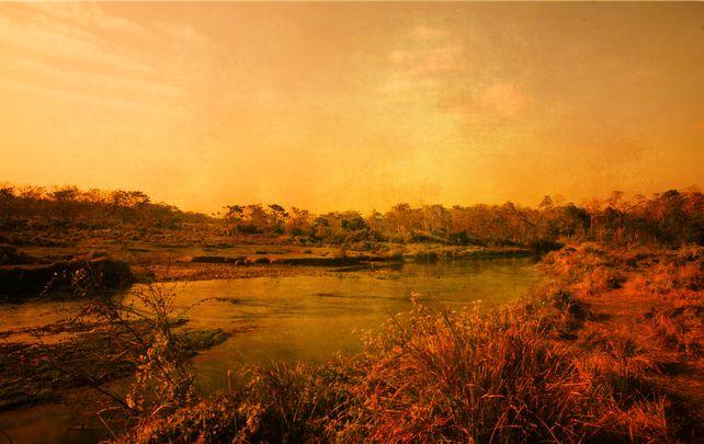 Sunset in Chitwan, Nepal