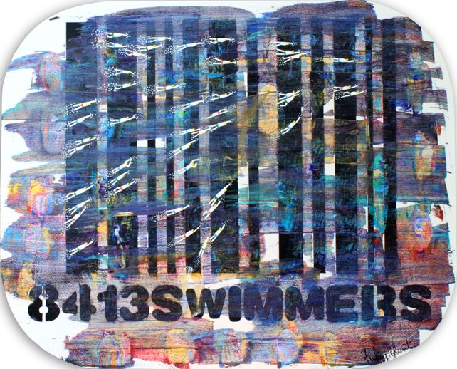 Swimmers 413 Swimmers over a Multicolor Bar Code s