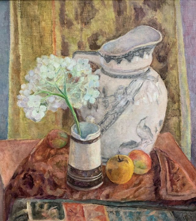 Still Life With Hydrangea Flower and Fruit