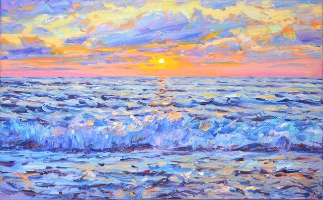Pink sunset on the sea