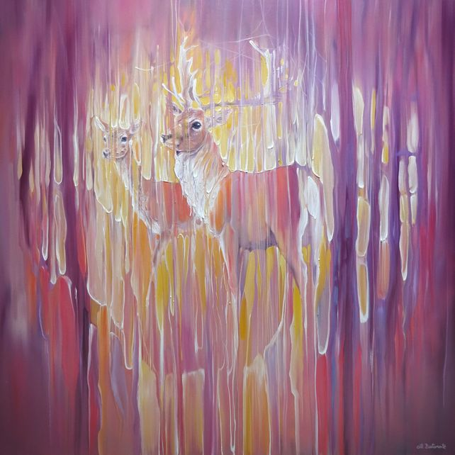 Forest Monarchs, large semi abstract deer painting