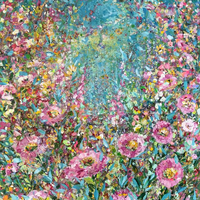 Pinks and Teal Abstract Floral